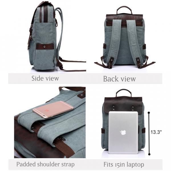 Vasch Laptop Deri Sırt Çantası (15.6 inç)-Light Green