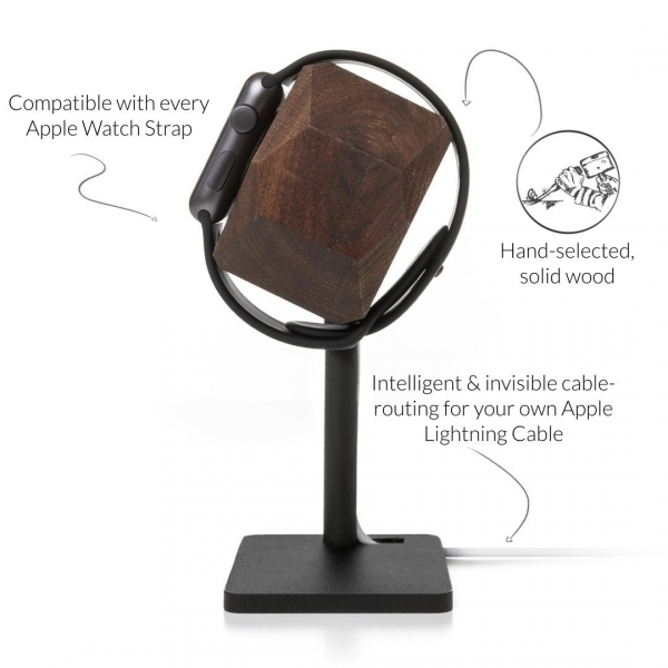 Woodcessories Apple Watch EcoDock Stand- Solid Walnut Wood