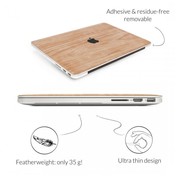 Woodcessories MacBook Pro EcoSkin Sticker (15 inç/Touchbar)-Cherry