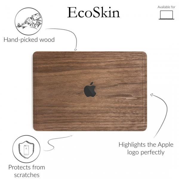 Woodcessories MacBook Pro EcoSkin Sticker (15 inç/Touchbar)- Walnut