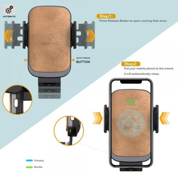 ZeeHoo USB C Kablosuz Araç Şarj Cihazı-Brown