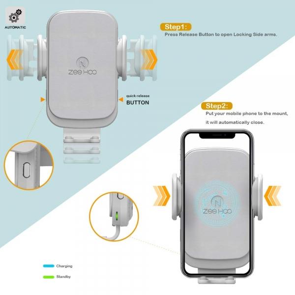 ZeeHoo USB C Kablosuz Araç Şarj Cihazı-White