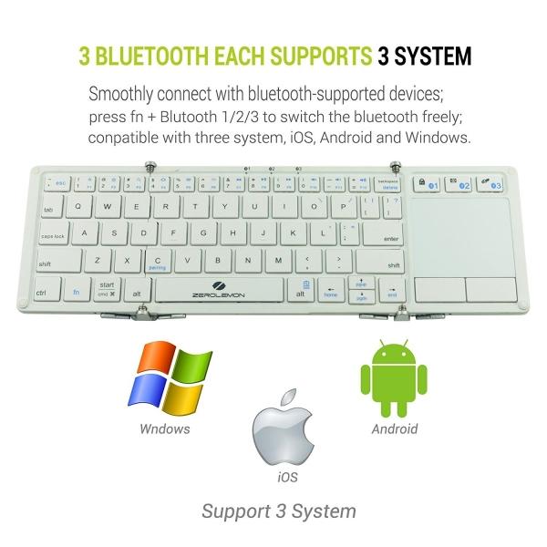 ZeroLemon Katlanabilir Bluetooth Klavye (White)