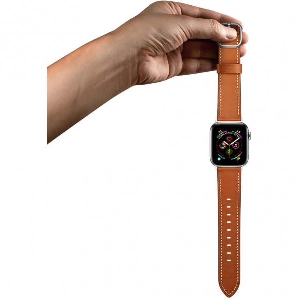 amBand Apple Watch Deri Kayış (38/40mm)-Brown