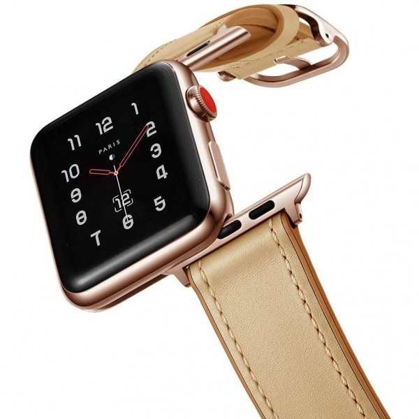 amBand Apple Watch Deri Kayış (38/40mm)-Creamy