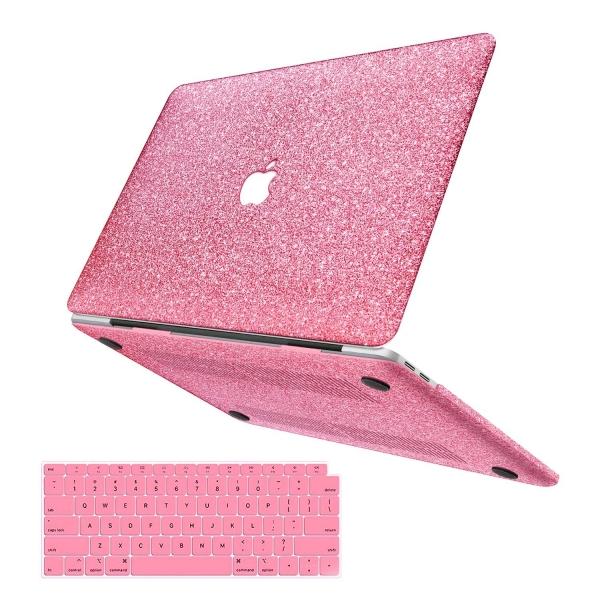 anban MacBook Air Simli Koruyucu Kılıf (Retina 13.3 inç)-Rose Red