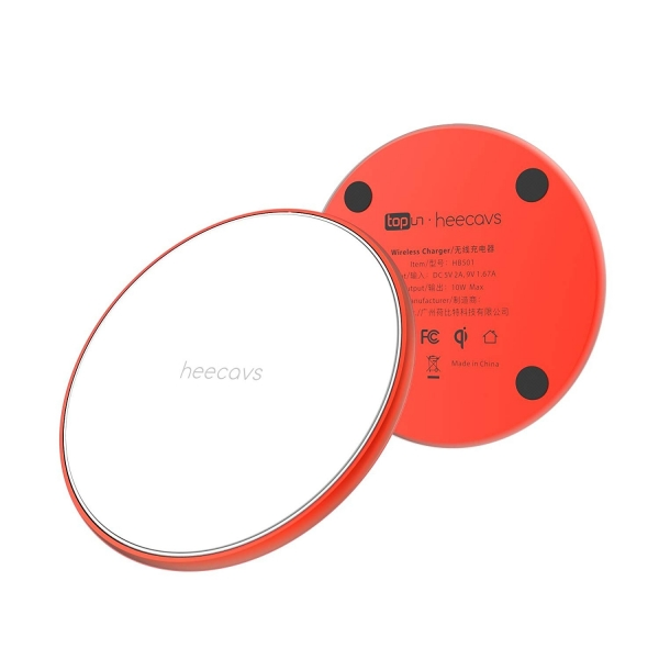 heecavs İnce Kablosuz Şarj Cihazı-Red