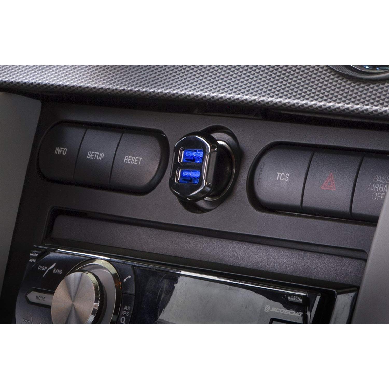 SCOSCHE ReVolt Çift Bağlantı Noktalı Araç Şarj Cihazı-Black