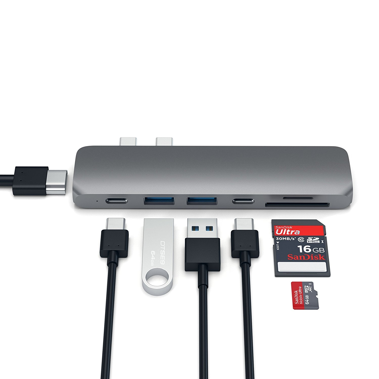 Satechi MacBook Pro 13 ve 15 inç Alüminyum Type-C Pro Hub Adaptör (Space Gray)
