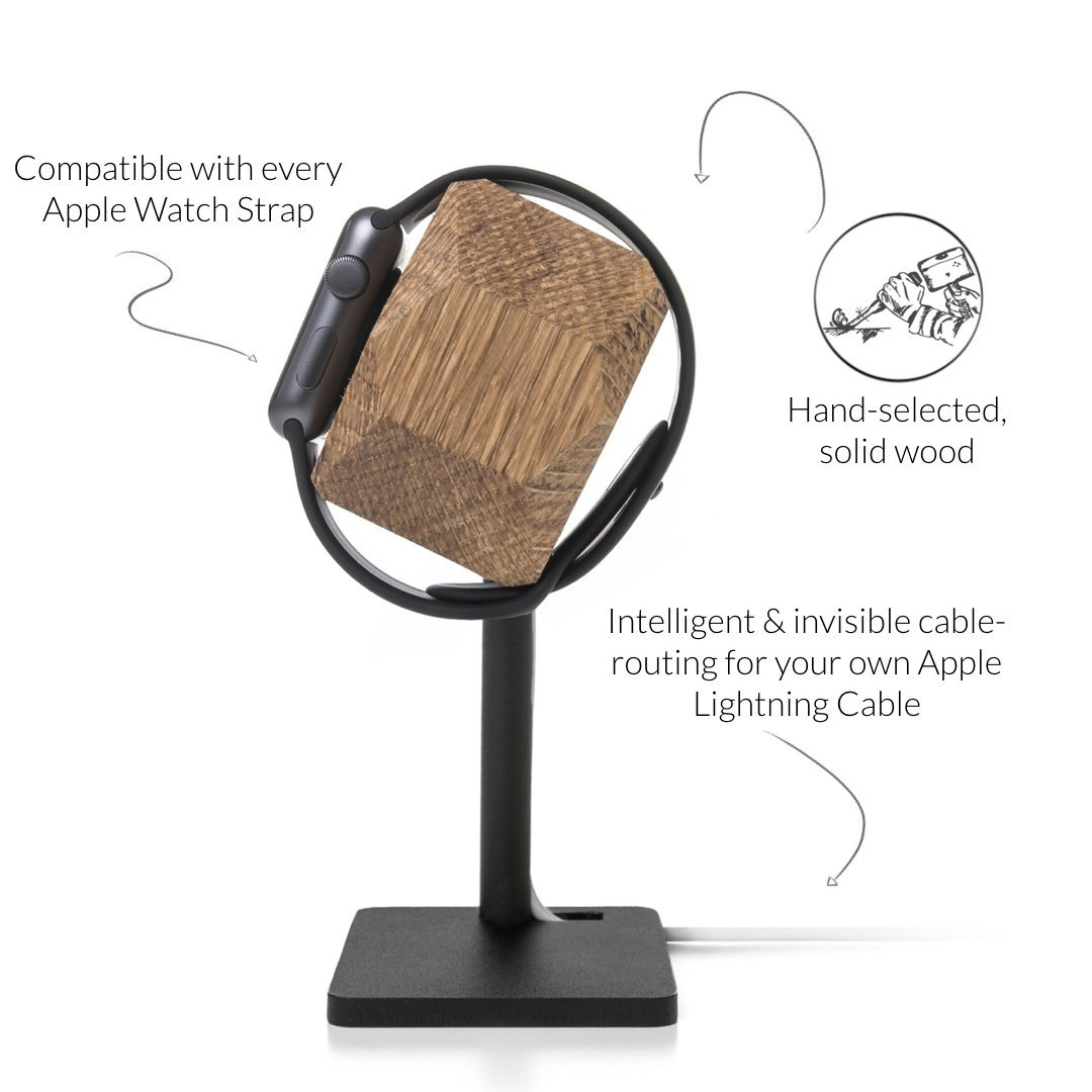 Woodcessories Apple Watch EcoDock Stand-Solid Oak Wood