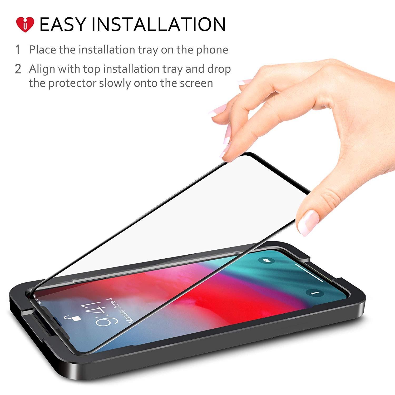 iCarez iPhone XS Max Cam Ekran Koruyucu (Siyah) (2 Adet)