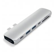 Satechi MacBook Pro 13 ve 15 inç Alüminyum Type-C Pro Hub Adaptör (Gümüş)