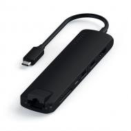 Satechi 7 Bağlantılı USB C Alüminyum Hub Adaptör (Siyah)