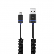 iLuv Premium Coiled Charge / Sync Cable with Lightning Connector for iPhone 5