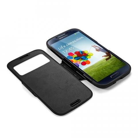 Spigen Samsung S4 Slim Armor View + Ekran Koruyucu Film Hediye