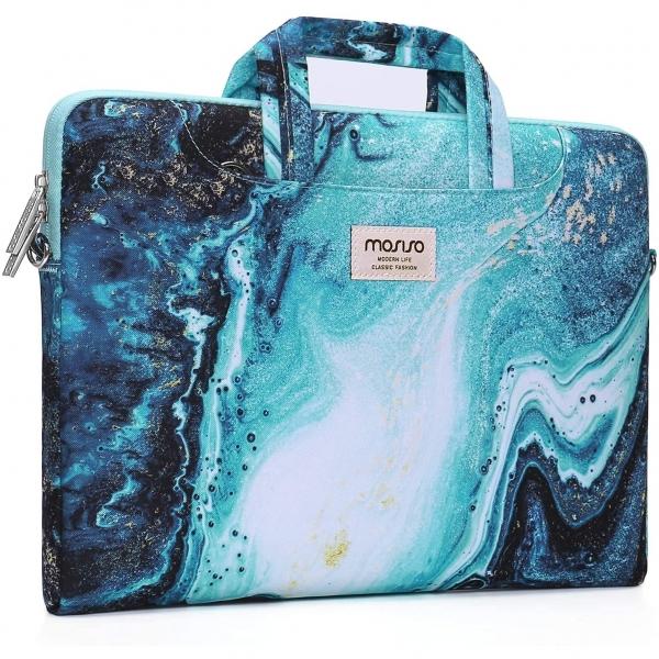 MOSISO 17.3 inç Laptop Omuz Çantası (Wave Marble)