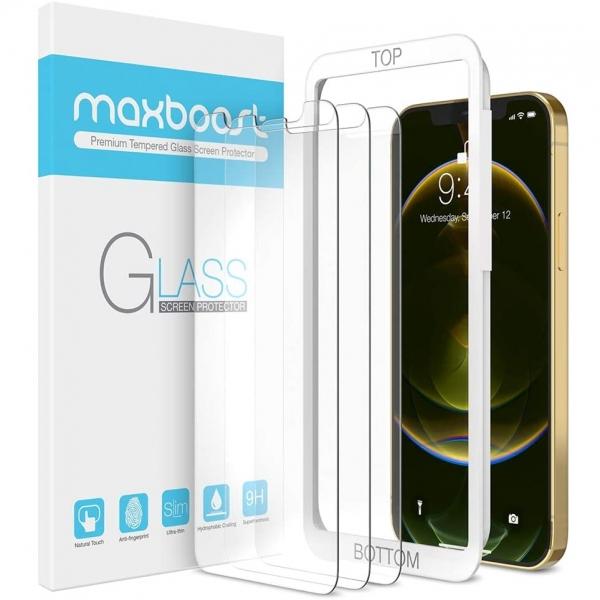 Maxboost iPhone 12 Pro Max Temperli Cam Ekran Koruyucu(3 Adet)