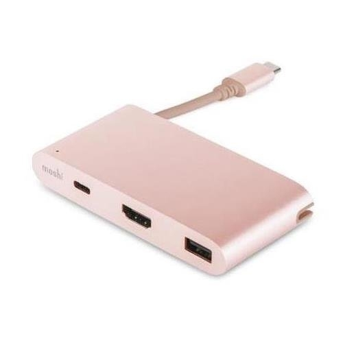 Moshi USB-C Çoklu Adaptör (Pembe Altın)