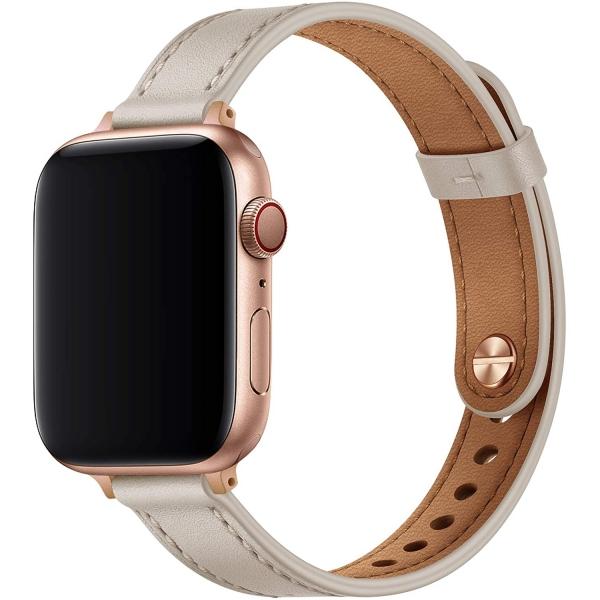 OUHENG Apple Watch 7 Deri İnce Kayış (41mm)