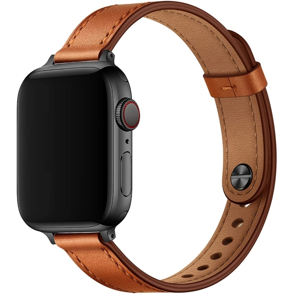 OUHENG Apple Watch 7 Deri İnce Kayış (45mm)
