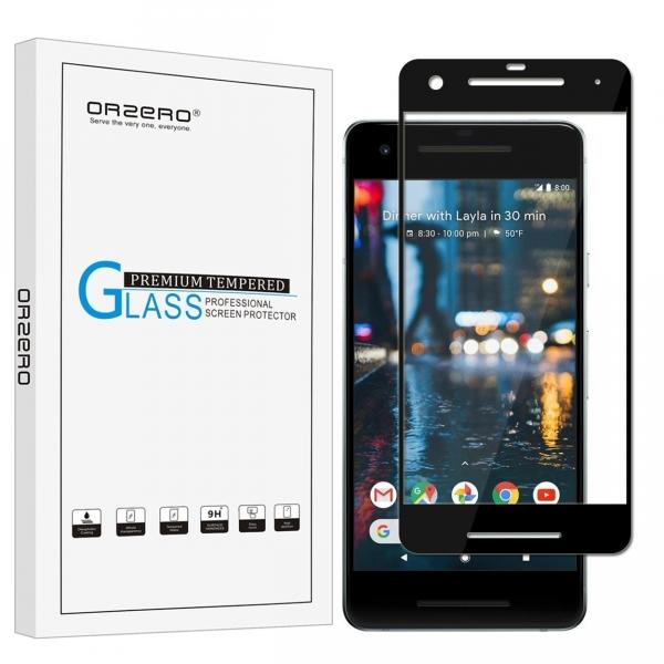 Orzero Google Pixel 2 Temperli Cam Ekran Koruyucu (Siyah)