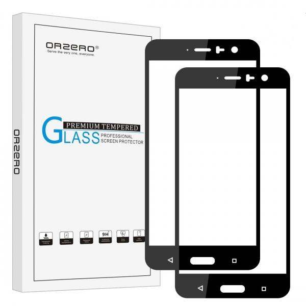 Orzero HTC U11 Temperli Siyah Cam Ekran Koruyucu (2 Adet)