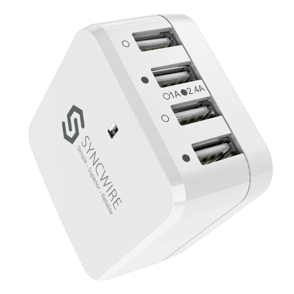 Syncwire 4 Bağlantılı USB Şarj Cihazı (Beyaz)