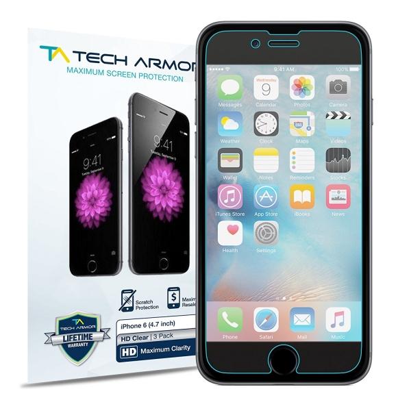 Tech Armor Apple iPhone 6S / 6 HD Şeffaf Ekran Koruyucu Film (3 Adet)