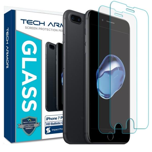 Tech Armor iPhone 8 Plus/7 Plus/6 Plus Balistik Temperli Cam Ekran Koruyucu (2 Adet)
