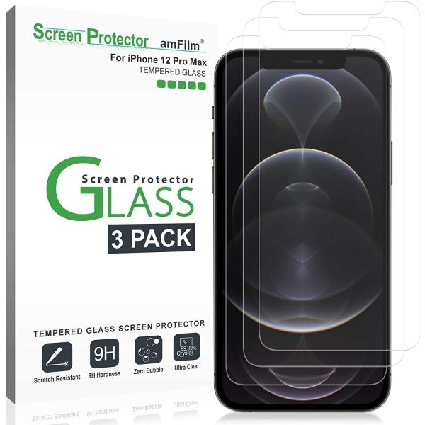 amFilm Apple iPhone 12 Pro Max Temperli Cam Ekran Koruyucu (3 Adet)