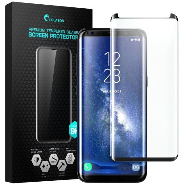 i-Blason Samsung Galaxy S8 Temperli Cam Ekran Koruyucu (Siyah)